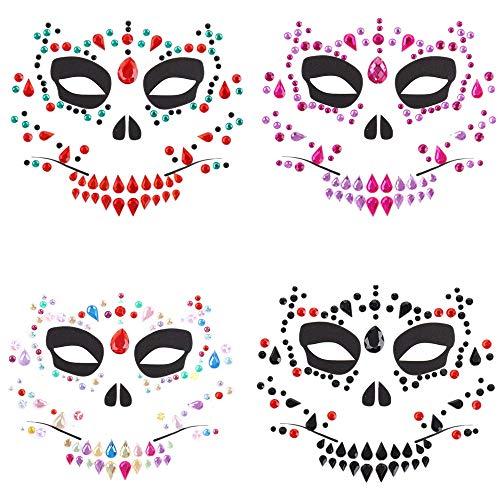 TOOGOO 4 Piezas Día de los Muertos Halloween Tatuajes Temporales...
