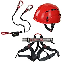 Alpidex Casco universal ARGALI + Alpidex Arnés universal TAIPAN + Salewa Set de Via Ferrata Premium Attac, Farbe:ruby red