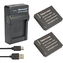 Newmowa DMW-BCM 13 batería (2 Pack) y portátil cargador Micro USB para Panasonic DMW-BCM 13, DMW-BCM 13E, DMW-BCM 13PP e Panasonic Lumix DMC-FT5, DMC-LZ40, DMC-TS5, DMC-TZ37, DMC-TZ40, DMC-TZ41, DMC-TZ55, DMC-TZ60, DMC-ZS27, DMC-ZS30, DMC-ZS35, DMC-ZS40, DMC-ZS50