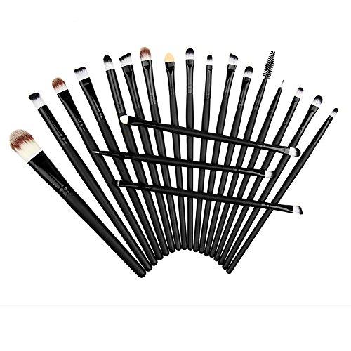 Chouette 20pcs Pinceaux Maquillage Eponge Kit Set Poudre Fard à Paupières Fondation Sourcil Lèvre Yeux Outil Brosse (Noir)