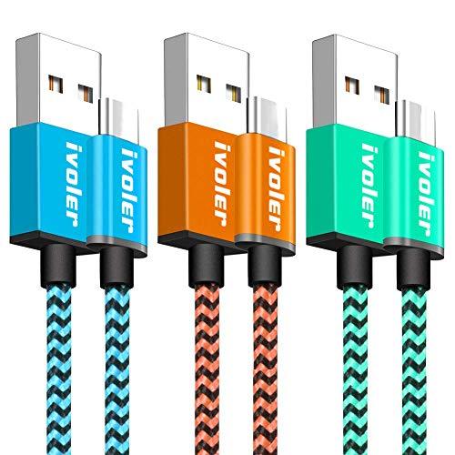 iVoler Cable USB Tipo C a USB A 3.0 [3 Pack: 2M+2M+2M] Cargador USB Tipo C de Nylon Trenzado Carga Rápida y Sincronización Compatible con Samsung, Xiaomi, Huawei y Más (Azul Naranja Verde)