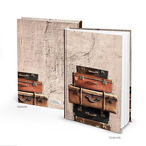 Hochwertiges XXL Blankobuch ALTE KOFFER HARDCOVER Notizbuch 148 leere weiße blanco Seiten Blätter zum Selbstgestalten Tagebuch Lebensgeschichte schreiben - Reisetagebuch
