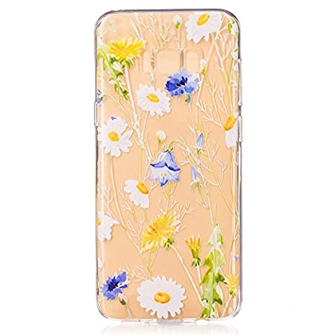 Samsung Galaxy S8+/S8 Plus Clear Case,Transparent Rubber Case for Samsung Galaxy S8+/S8 Plus,Meet de Clear Shock Proof Soft Durable Scratch Resistant Jelly Rubber TPU Protective Case Cover Skin Shell for Samsung Galaxy S8+/S8 Plus with Beautiful Colourful Pattern Design-daisy