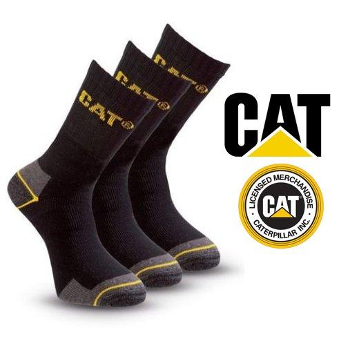 Pack of 3 Caterpillar Work Socks Cotton Mens in Black Size UK...