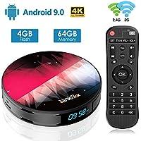 Android TV Box【4G + 64G】 NinkBox Android 9.0 TV Box N2 Plus RK3318 Quad-Core 64bit Cortex-A53, supporta Bluetooth 4.0/WLAN 2.4G/5.0G /4K HD/USB 3.0 Smart TV Box Android Set-top-Box