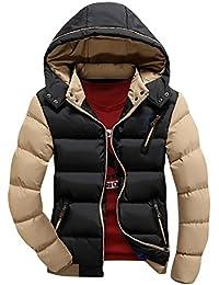 Hombre Invierno Más grueso Chaqueta abajo de la capa encapuchada ligero Mantener caliente Outcoat Negro L
