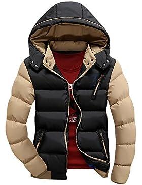 Hombre Invierno Más grueso Chaqueta abajo de la capa encapuchada ligero Mantener caliente Outcoat Negro M