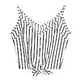 SUNNSEAN New Mode Frauen V-Ausschnitt Oberteile Mode Tops Spitzennähte Leibchen Lose Modisch Damen Sexy T-Shirt Sling Tops Ärmellos Rein T-Shirt Off Schulter Bluse (XL, Weiß)
