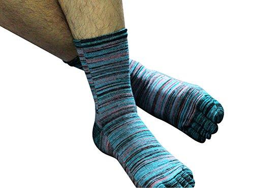 OUMOSI Socks for Men Women Retro Art Oil Painting Style Color Five Finger Toe Socks Soft Cotton Blend Casual Deodorant Sport Socks (Blue)