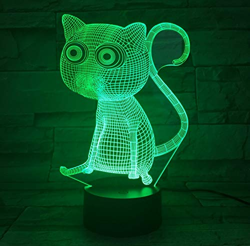 3D Abstract Big Eyes Cat Night Lights Led Table Lamp As Home Decoration 7 Colors Change Touch Control With Battery Box And UsbTouch Switch 7 Color Change