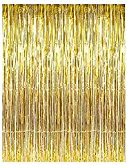 3 Pack Set Pale Champagne Metallic Foil Fringe Tinsel Curtain Happy Birthday Party Decoration Backdrop 1x 3 m