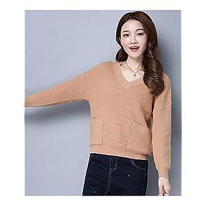 BaiChunYunYi Damen Kurz Pullover-Lässig/Alltäglich Solide Einfarbig V-Ausschnitt Langarm Polyester Frühling Herbst Dünn Mittel Mikro-elastisch