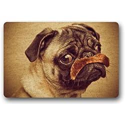 Se puede lavar a máquina Felpudo Funny Pug para interiores/al aire libre Decor alfombra Felpudo 30(L) X 18(W) pulgadas