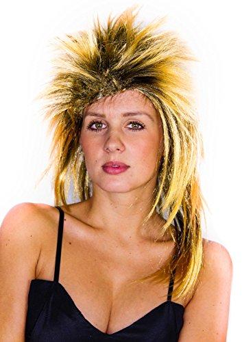 Foxxeo Blonde 80er Jahre Vokuhila Rockstar Perücke für Damen 80s Fasching Party Iro Punk Punkerin Rock n Roll Damenperücke