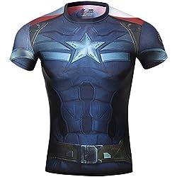 Cody Lundin los hombres Compresión armadura América héroe insignia fitness correr deporte manga corta de (M)