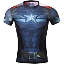 Cody Lundin® Maschile Sonic Compressione Shirts Avengers Capitan America T-Shirt Fitness in Esecuzione Collant