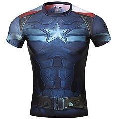 Idea Regalo - Cody Lundin® Maschile Sonic Compressione Shirts Avengers Capitan America T-Shirt Fitness in Esecuzione Collant (XL, Capitan America 2)
