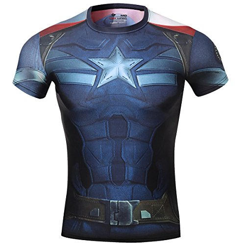 Cody Lundin® Maschile Sonic Compressione Shirts Avengers Capitan America T-Shirt Fitness in Esecuzione Collant (M)