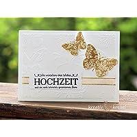 Hochzeitskarte, mit Kuvert, handgefertigt / handmade, Glückwunschkarte zur Hochzeit, wedding, greetings, congratulations, Schmetterling, butterfly
