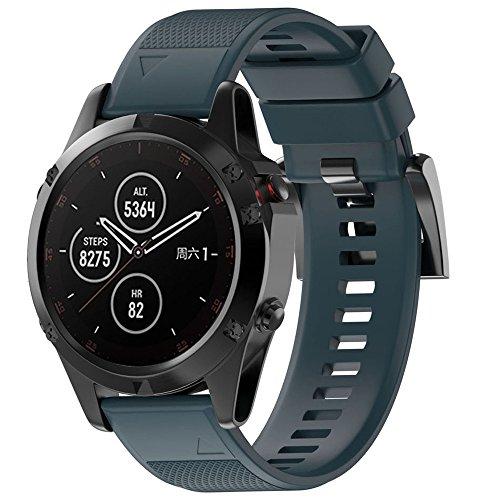 Huhu833 Armband für Garmin Fenix 5/5 Plus, 22MM Sport Weiche Silicagel UhrBand Schnellinstallation Uhrenarmband Ersatzarmband Strap für Garmin Fenix 5/5 Plus GPS Uhr 220MM (Marine) -
