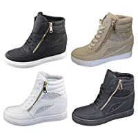 Womens Ladies Girls Diamante Wedge Heel Ankle High Top Trainers Sneakers Boots Shoes