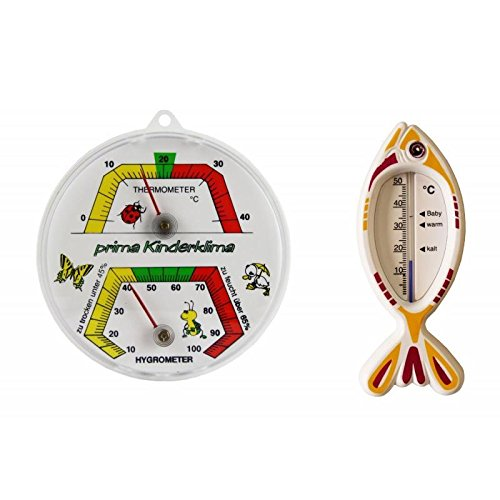 Set Kinder Zimmer Bimetall Kombi Thermometer / Hygrometer Analog und Kinder Badethermometer . Thermohygrometer / Luftfeuchtemessung