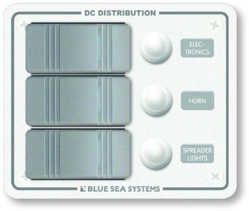 Blue Sea Systems CONTURA wasserabweisend 12V DC Circuit Breaker Panel-weiß 3Position -