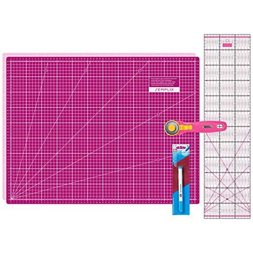 SEMPLIX Schneidematten Set - Schneideunterlage 60 x 45 cm (A2), Rollschneider Maxi, Patchwork Lineal + PRYM Aqua-Trickmarker (pink/Beere)