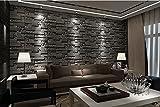 3D Dreidimensionale Fliesen Brick Pattern Wallpaper Schlafzimmer Wohnzimmer TV Hintergrund Bekleidungsgeschäft Tapete, dunkelgrau