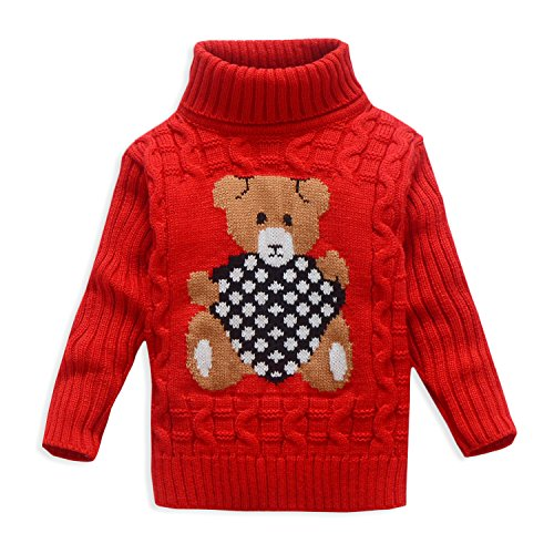 VIFUUR Kids Bear Turtleneck Sweater Boys Girls Knit Sweater For Christmas Red UK 3-4 Years