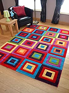 Candy Multicoloured Squares Design Rug. Available in 8 Sizes by Rugs Supermarket