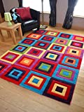 Candy Multicoloured Squares Design Rug. Available in 5 Sizes (80cm x 150cm)