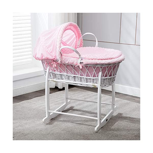 MCC Full Set Deluxe Palm Wicker Moses Basket with Dressing & Rocking Stand (Wicker, Pink) MCC Classic moses basket with matching handles and a thicker padding on the inside. Hand woven Space-Tec Padding Quilted Hypo-Allergenic Feet to Foot mattress from Genuine UK manufacturer (BS 7177:2008 low hazard domestic use). Superb quality dressing made from Genuine UK manufacturer. 1