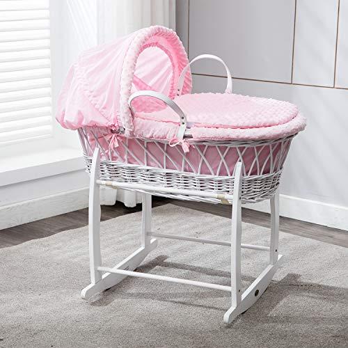 Mcc® culla neonato cesto in vimini bianco con lenzuola rosa in 100% cotone waffle, materasso e supporto a dondolo inclusi (colore rosa)