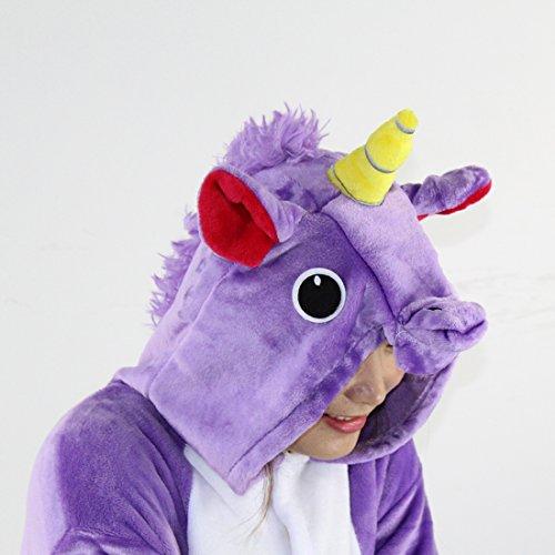 Pigiama Unicorno Kigurumi Adulto Animale Cosplay Animato Costume Camicie da Notte Carnevale Halloween Costume Tuta Animali Onesies Viola