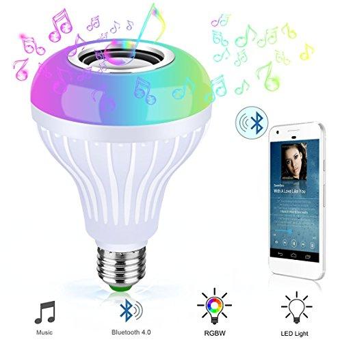 Bluetooth Glühbirne Lautsprecher RGB Farbwechsel Dimmbare LED Glühbirnen Eingebaute Wireless Stereo Audio Lautsprecher E26 Base Smart Musik Licht mit 24 Tasten IR Controllerr (Gerät-glühbirne Base-klar,)