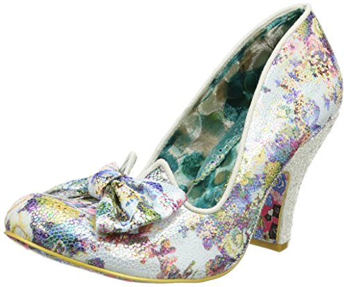Irregular Choice Nick Of Time, Escarpins femme Off-White (Floral Print)
