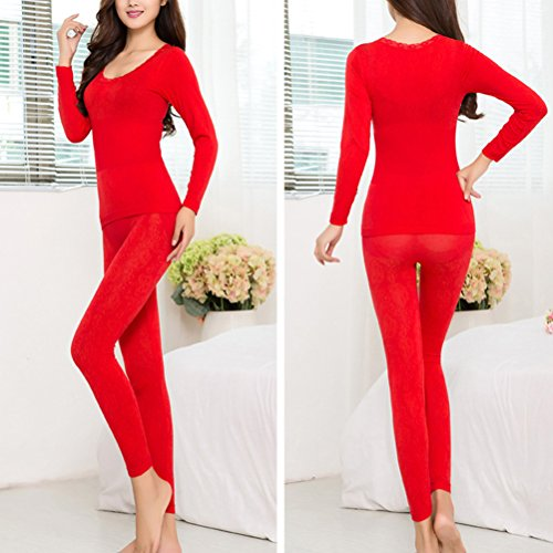Zhhlaixing Fashion Women's Color Stretch Top & Bottom Thin Thermal Underwear Set YT16DBN525 red