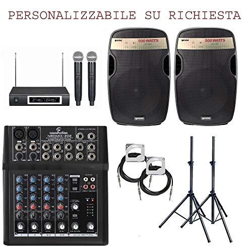 825 pack - impianto audio completo per dj pub discobar karaoke