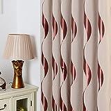 2er-Set Europäische luxuriöse Vorhänge gestreifte Vorhänge für Schlafzimmer Wohnzimmer(230*140cm,Kaffee)