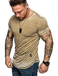 Amaci Sons Oversize Herren Vintage Verwaschen T-Shirt Brusttasche Crew Neck  Rundhals Basic Shirt 6086 6bac04b142