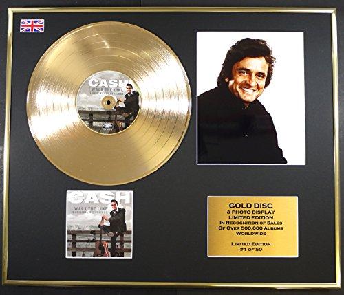 JOHNNY CASH/Goldene Schallplatte/RECORD & Foto-Darstellung/Limitierte Edition/COA/I WALK THE LINE