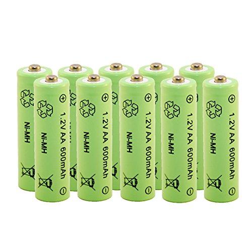 Akku aufladbare Batterie Ni-MH NiMH AA Mignon 1,2 Volt 600mAh Solar 10 STÜCK