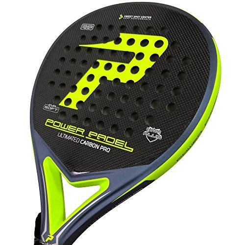 Power Padle - Racchetta Ultimate Carbon Pro per paddle tennis, colore giallo fluo opaco