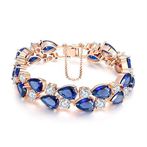 YAZILIND Schnalle armband rose gold überzogene hübsche blaue zirkon für frauen mädchen party Schmuck 19cm (blau)