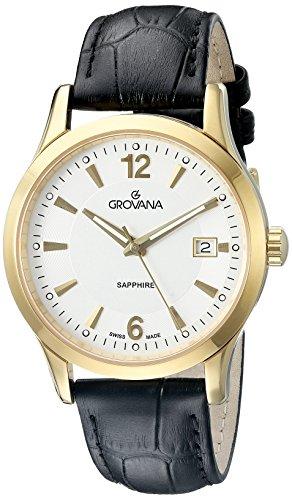 Grovana - 1209.1512 - Montre Homme - Quartz Analogique - Aiguilles Luminescentes - Bracelet Cuir Noir