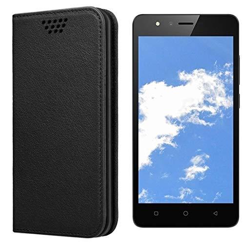 UltraProtection Schutztasche für TP-Link Neffos C5A Tasche, Schutz-Hülle, Handytasche, Wallet Cover Case, Handy Etui in Schwarz