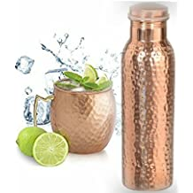 Buycrafty Hammered Copper Moscow Mule Mug with Brass Handle Vodka Mug,Beer Mug With 1 Hammered Copper Yoga Water Bottle - Handmade Joint Free & Leak Proof For Cocktail Party