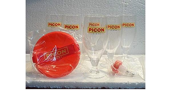 Picon biere 6 Verre A Pied avec Trait DOSEUR Neuf