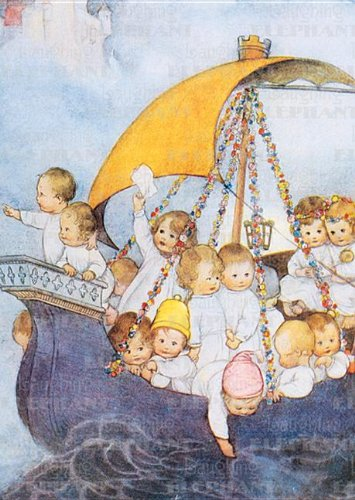 Babies on Sailboat - New Child Greeting Card for sale  Delivered anywhere in UK